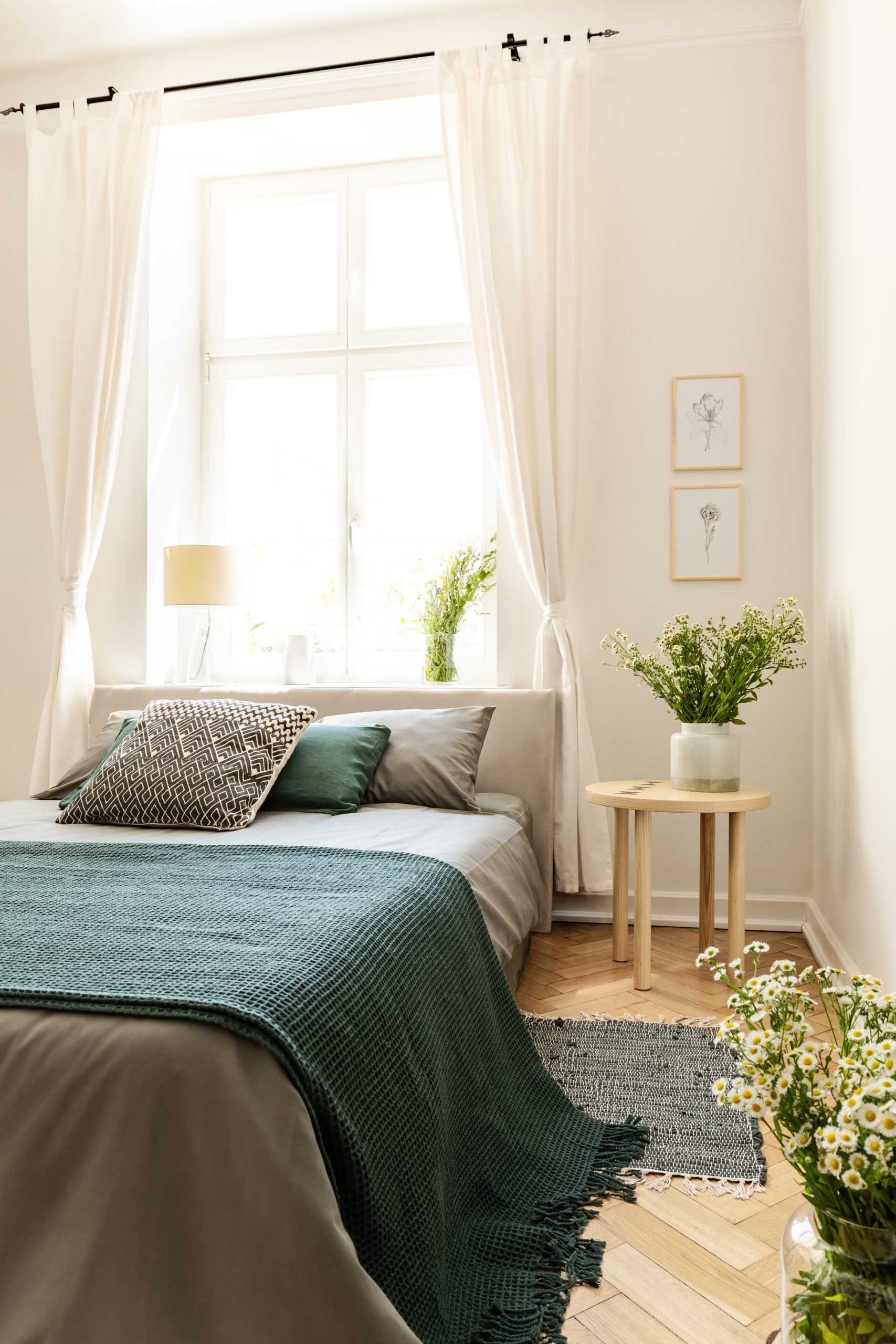 Green blanket on bed next to table with plant in bedroom interior with drapes at window. Real photo