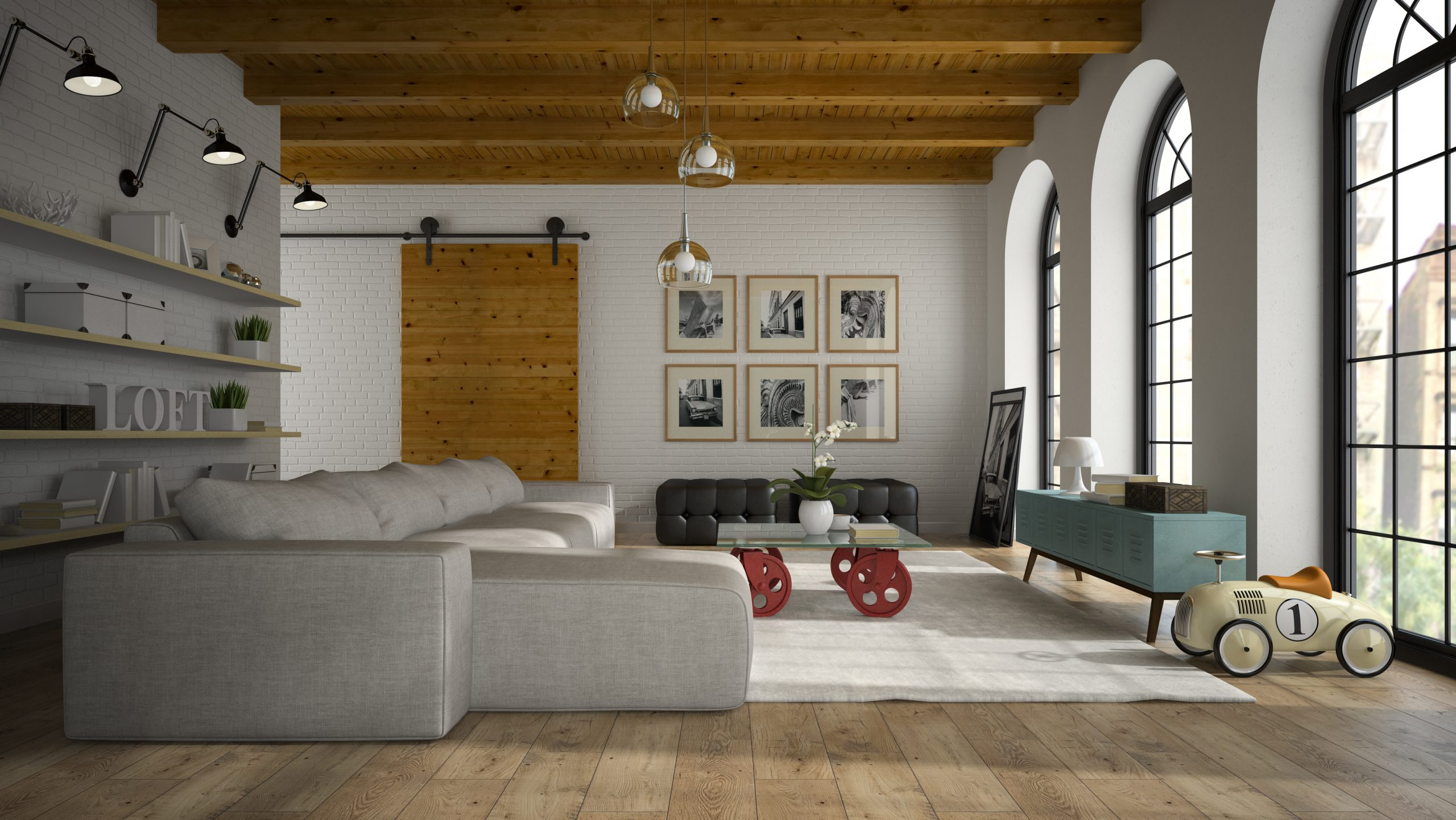 Interior of modern design loft with toy car 3D rendering