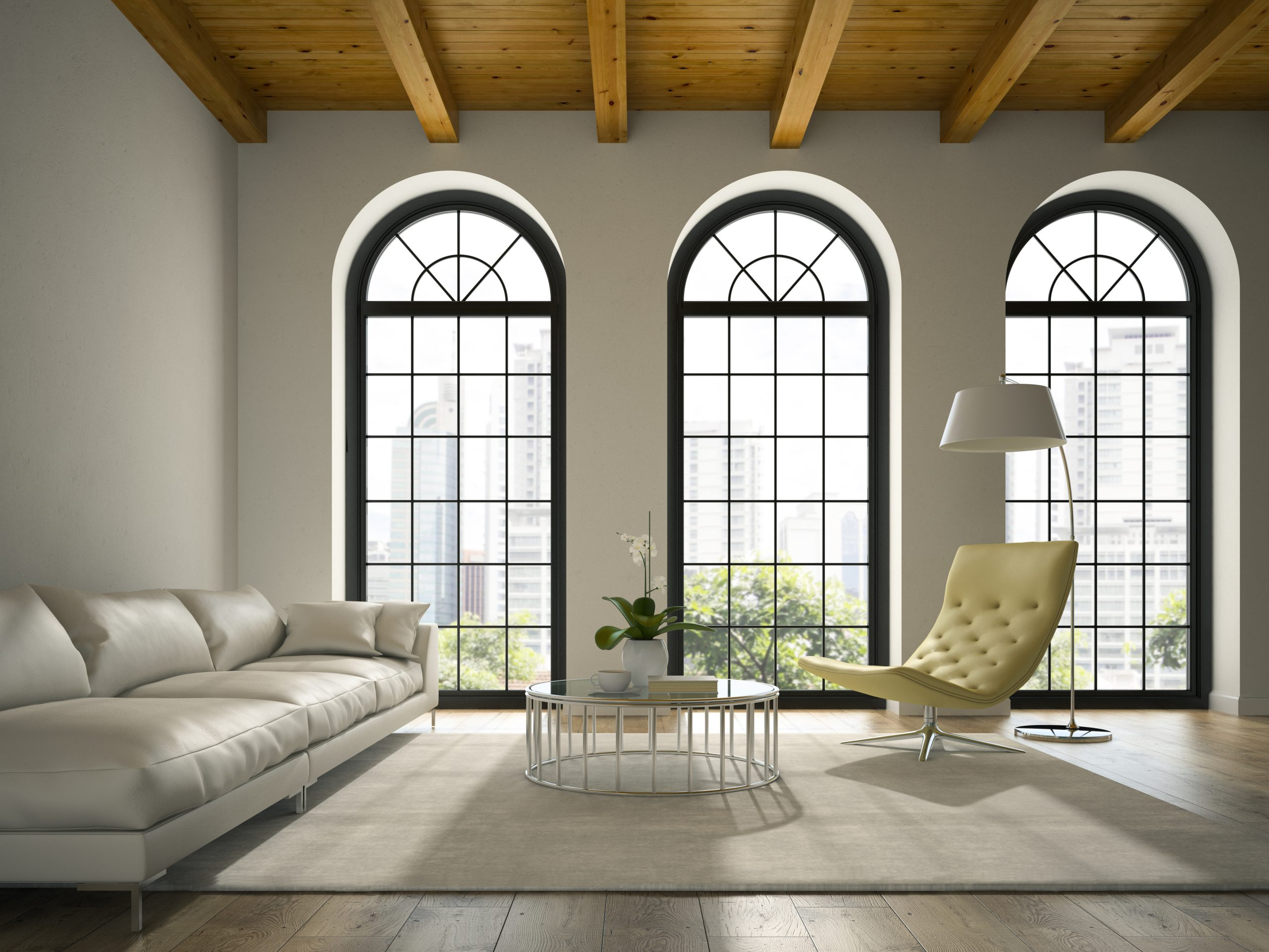 Interior of modern  design loft  with white sofa 3D rendering